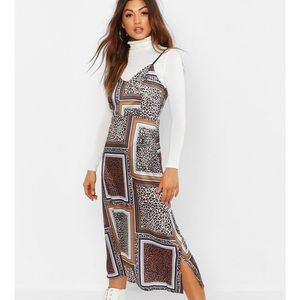 Mixed Leopard Print Slip Dress